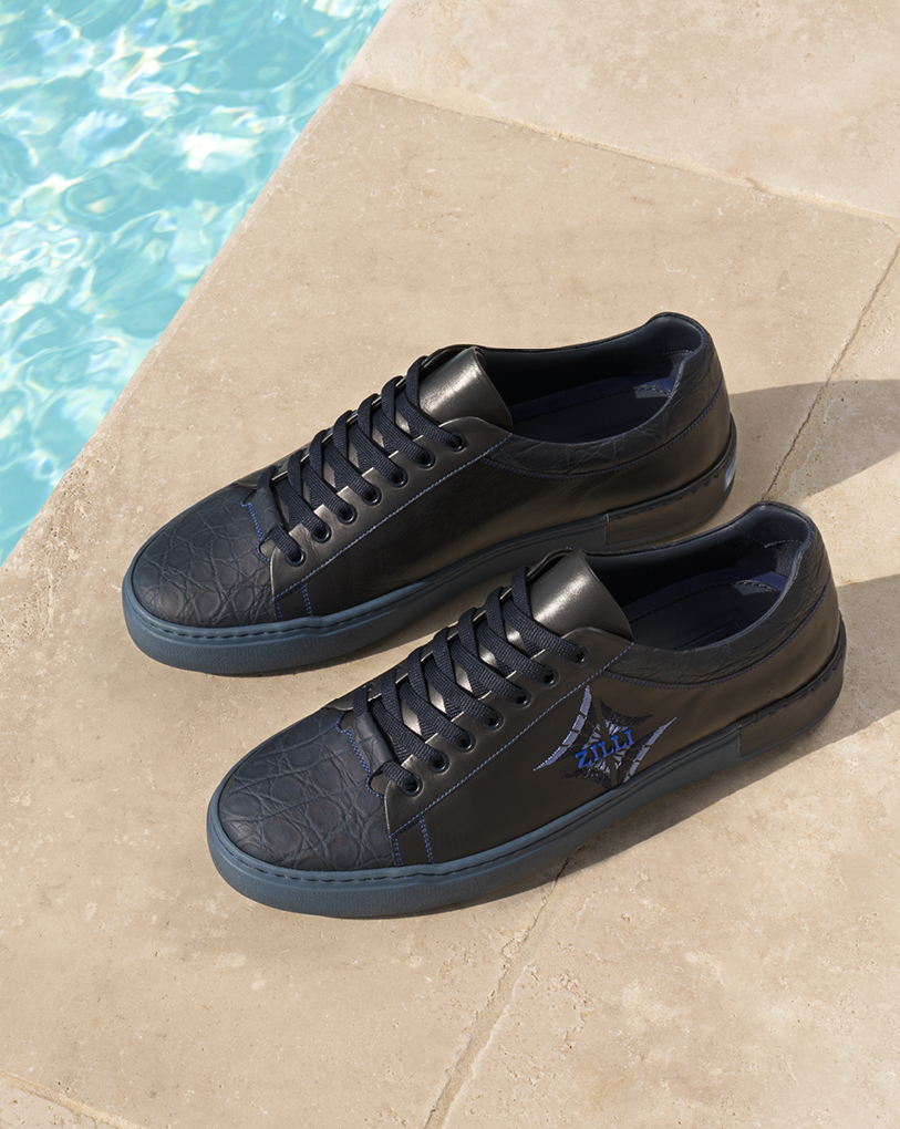 "Sneakers in calfskin and caiman, ""Vento"" embroideries - MDR-TT042-D0305/0A1X D4330"